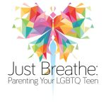 just breathe logo with rainbow butterfly